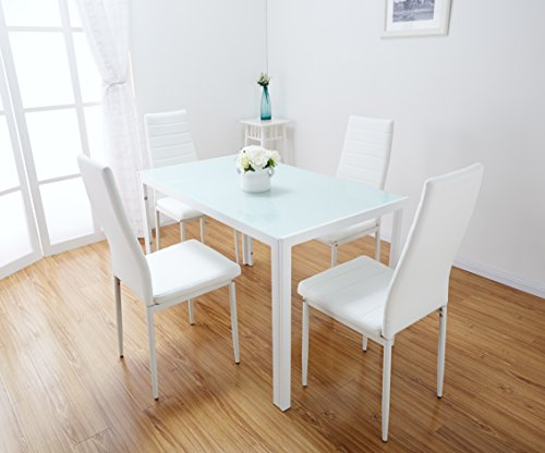 White Glass Dining Table Set with 4 Faux Leather Chairs (White)…