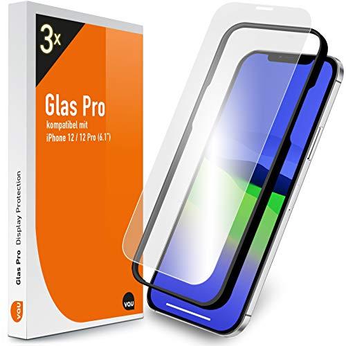 vau Glas Pro kompatibel mit iPhone 12/12 Pro (6.1) Panzer-Folie Displayschutz 3 Stück mit Schablone