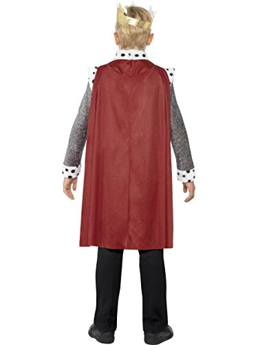 Smiffys-44079L Disfraz Medieval del Rey Arturo, con túnica, Capa y Corona, Color Rojo, L-Edad 10-12 años (Smiffy'S 44079L)
