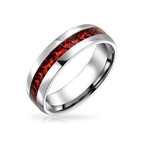 Bling Jewelry Juli Geburt Monat Rot Farbe Kanal Einstellen Kristall Ewigkeit Band Ring Für Frauen Für Männer Silber Getönt Edelstahl