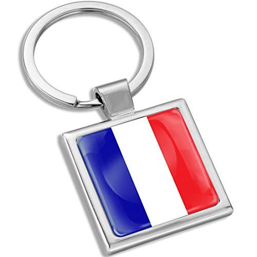 Biomar Labs Llavero con Caja de Regalo de Metal en 3D para Hombres y Mujeres Bandera Nacional Francia France Francesa KK 286