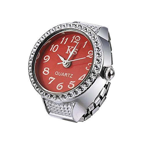duoying Reloj de anillo, anillo de cuarzo redondo elástico creativo reloj de acero inoxidable resistente al agua con reloj, para hombre, el mejor regalo casual y de negocios