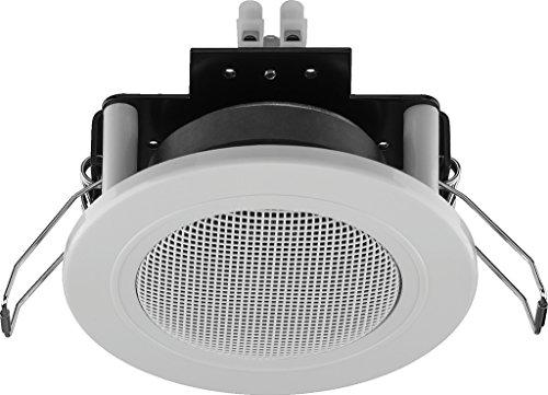 Monacor SPE-82/WS kleine inbouwluidspreker met een nominale belastbaarheid van 6 watt geschikt voor spraak en achtergrondmuziek, plafond- en wandluidsprekers met een impedantie van 4 ohm, in wit