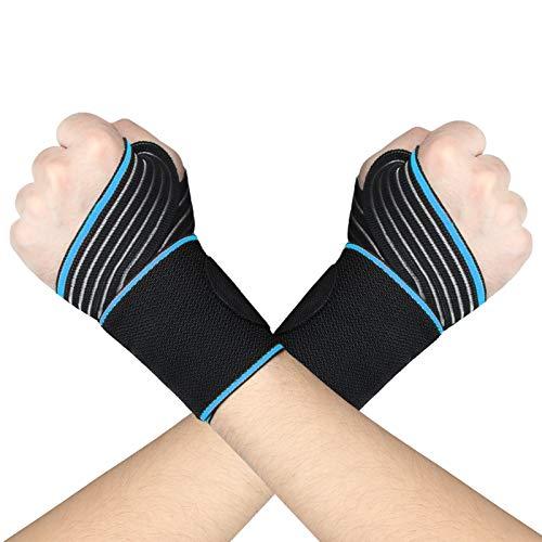 AMZSPORT Handgelenkstütze, Verstellbare Handgelenkbandage Handgelenkschoner mit Klettverschluss für Krafttraining Fitness Bodybuilding, Einheitsgröße, 1 Paar, Blau