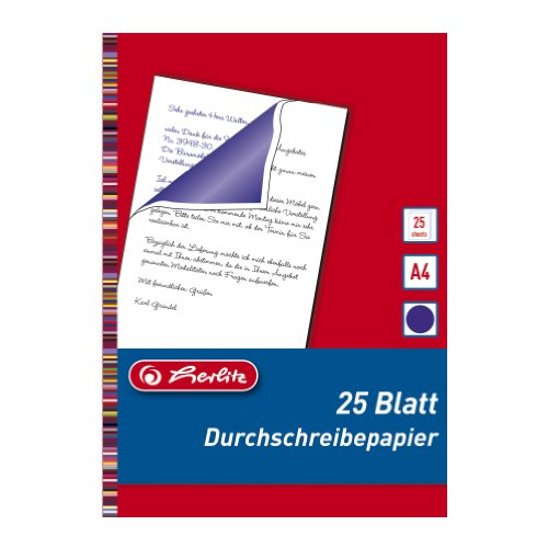 Herlitz 10303717 Durchschreibepapier für Handdurchschriften, A4, 25 Blatt blau