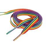 Happyyami 2 Paar 140Cm Regenbogen Schnürsenkel Flache Elastische Schnürsenkel in Turnschuhen Stiefel für Erwachsene Kinder Verwendet