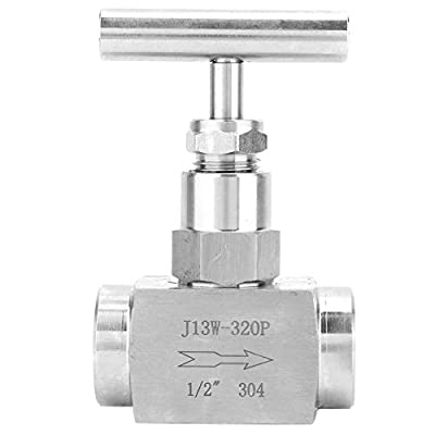 """Stainless Steel Needle Valve, BSPP Female Thread High Pressure Needle Control Valve, Straight Needle Valve, for Water Transmission, 1/4in, 3/8in, 1/2in (Optional)(1/2"""") from Acogedor"""