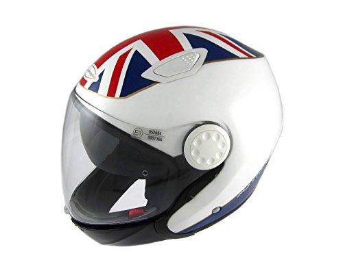 Motorradhelm mit doppeltem Visier und doppeltem Visier, zugelassen in Italien ECE 22.05 E3 Mod. PJ EVO 06 UK FLAG XL - 60CM Bianco