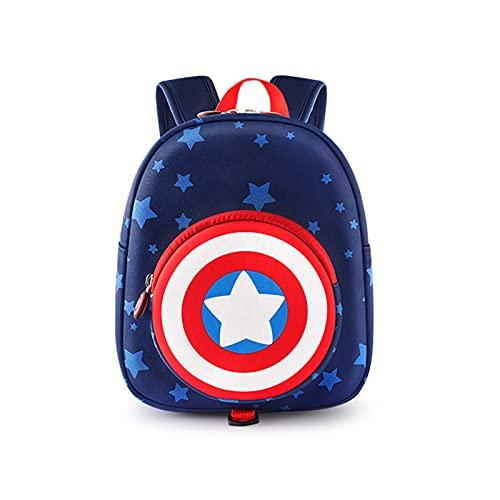 YEMAO Zaino per Cartoni Animati per Bambini Captain America Zaino Leggero E Traspirante per Ragazzi,Captain America~A-23 * 15 * 28cm