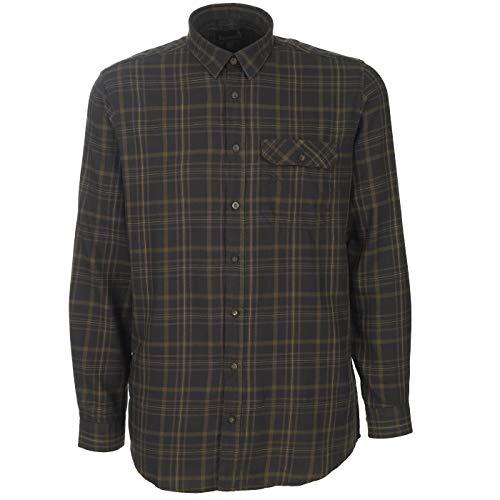 Seeland kariertes Flanellhemd für Jäger Range aus Baumwolle - Weiches Holzfällerhemd mit Samdverstärkung an den Ellenbogen, Größe:L, Farbe:Schwarz