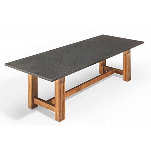 Studio 20 Voss Gartentisch 240 x 100 x 75 cm Granitplatte Granittisch Teakholz Tischplatte Black Diamond satiniert