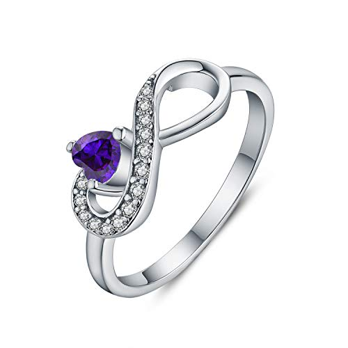 JO WISDOM Damen-Ring 925 Sterling Silber Infinity Unendlichkeit Geburtsstein Ring Herz schliff AAA Zirkonia Februar Birthstone Violet Farbe