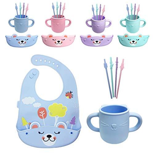 Brunoko vaso aprendizaje bebe + pajitas silicona infantiles + babero silicona bebe 3 en 1 - vasito entrenador + 4 pajitas niños + babero blw - Seguro en lavavajillas/microondas - Diseñado en E
