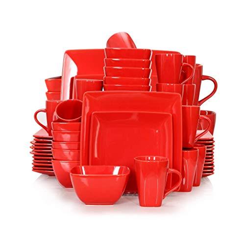 XXSHN Juego de vajilla Cuadrada de Porcelana de cerámica roja de 16/32/48 Piezas con Plato de Cena, Plato de Postre, Cuenco, Juego de Tazas de 240 ml
