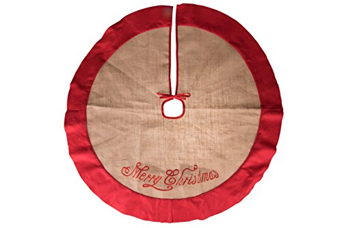 Clever Creations - Gonna per albero di Natale - design tradizionale natalizio in iuta ideale per raccogliere aghi e resina - orlo rosso e ricamo Merry Christmas - diametro 102 cm