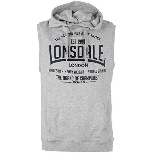 Lonsdale - Sudadera con capucha sin mangas para hombre gris L
