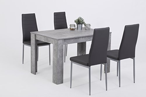 5-tlg. Essgruppe Simone, Holzwerkstoff Betonoptik, Stuhl Kunstleder grau, 120x80x76 cm