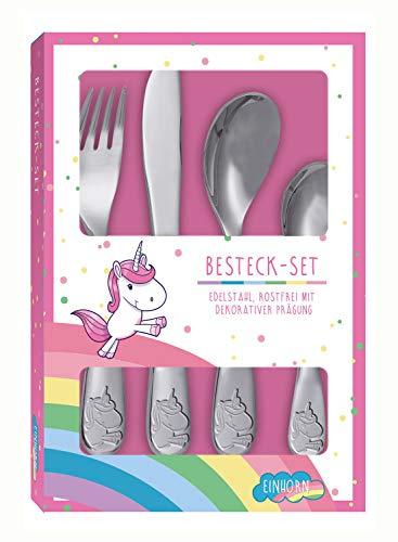 POS 27582 - Besteckset mit niedlicher Einhorn Prägung, 4 teiliges Kinderbesteck aus rostfreiem Edelstahl, spülmaschinengeeignet, bestehend aus Messer, Gabel, großer und kleiner Löffel