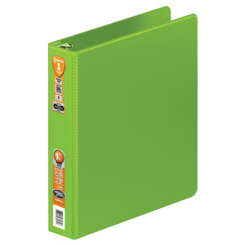 Wilson Jones Heavy Duty Round Ring Binder with Extra Durable Hinge, 1.5-Inch, Chartreuse (W364-34-376)