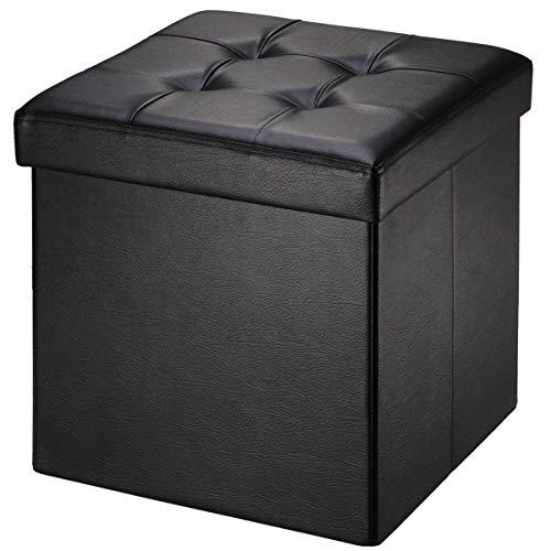 BRIAN & DANY Pouf Coffre de Rangement Tabouret Pliant Pouf de Pliable Cube Simili Cuir, 38 x 38 x 38 cm, Noir