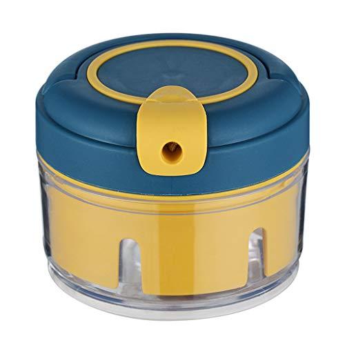 Joocyee Manual Garlic Press Ginger Crusher Veggie Chopper Multifunctional Home Tool,Mini Manual Garlic Cutter,Blue+Yellow
