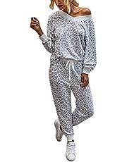 ASKSA Joggingpak voor dames, luipaardpatroon, sportpak, trainingspak, huispak, 2-delige set, vrijetijdspak, sportswear, losse lange mouwen, top, sportieve broek met trekkoord en zakken