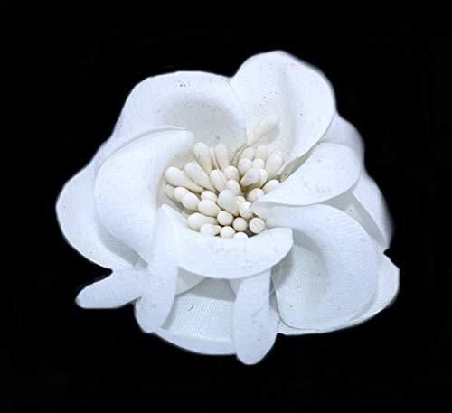 Flor de Tela para decoración Textil - Bodas, pamelas, tocados, Diademas (Blanco)