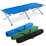 Letto da campo militare pieghevole in alluminio - Letto da campo pieghevole e letto per ospiti (blu)