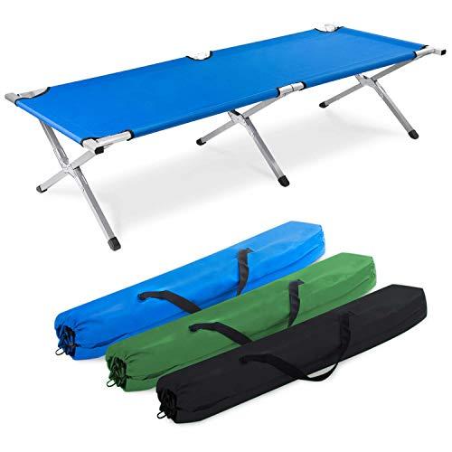 GOODS+GADGETS Faltbares Army Feldbett aus Aluminium - klappbares Campingbett & Gästebett (Blau)