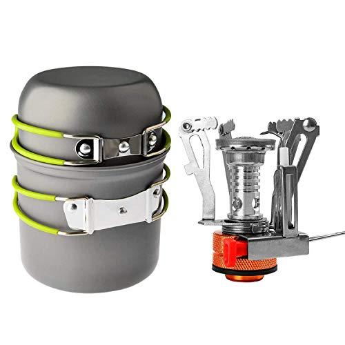 Shayson Fornello da Campeggio + Padella, Portatile Outdoor Backpacking Pentole Escursionismo Fornello da Cucina Bruciatore a propano butano per bombola a Gas con accensione piezoelettrica