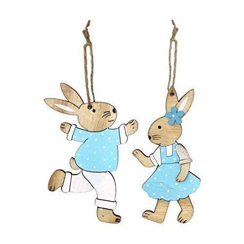 pacco da 2 BLU IN LEGNO RAGAZZO Coniglietto pasquale coniglio DECORAZIONI DA APPENDERE