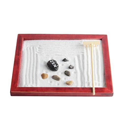LIOOBO Mini Méditation Table de Sable Traditionnel Miniature Paysage Bac à Sable Zen Jardin Bac à Sable Bureau Ornement