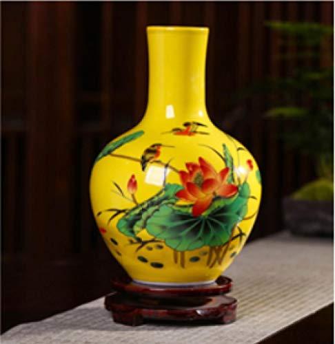 Keramiek Geel Kleine vaas Bloem Arrangement Decoratie Chinese Woonkamer TV Kast Huisdecoratie Ambachten Decoratie Hoogte 23 * 14cm