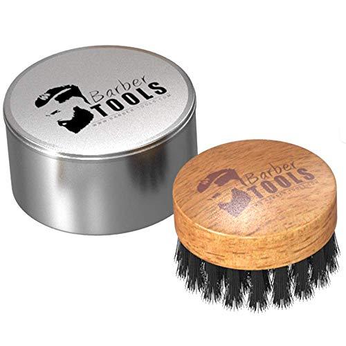 ✮ BARBER TOOLS ✮ Cepillo redondo de barba con caja de metal.