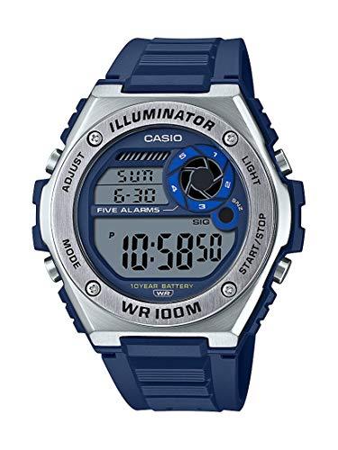 Casio Reloj digital resistente para hombre con batería de 10 años, correa de resina de cuarzo, azul, 25,7 pulgadas, estilo casual (modelo: MWD-100H-2AVCF)