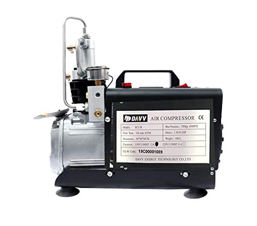 HPDAVV Protable Air Compressor 4500Psi - 1.5KW - 110V/60Hz - Auto Stop for Paintball Scuba Tank Filling Pump