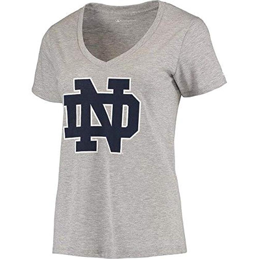 自我フェミニン一握りChampion Champion Notre Dame Fighting Irish Women's Heathered Gray Primary Logo V-Neck T-Shirt スポーツ用品 【並行輸入品】