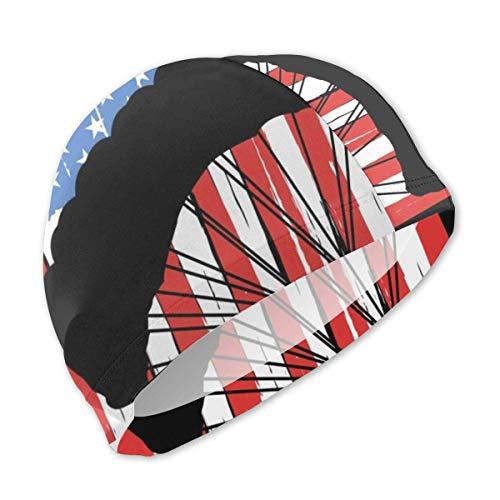 Wu BBCute Schwimm-Kopfhörer mit Aufdruck Amerikanische Flagge Fallschirmspringen, Badekappe für Kinder, Mädchen, Jungen