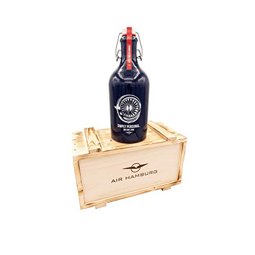 AIR HAMBURG SIMPLY PERSONAL Gin 2019 mit Bügelverschluss inkl. Holzbox I Geschenkset I Botanicals: Basilikum, Gurke & Apfel I 42% VOL I 500 ml