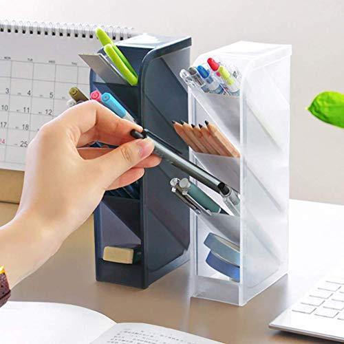 Organizador de escritorio, caja multifuncional para bolígrafos con 4 compartimentos, papelería de escritorio, estante de almacenamiento de suministros de oficina en casa (negro)