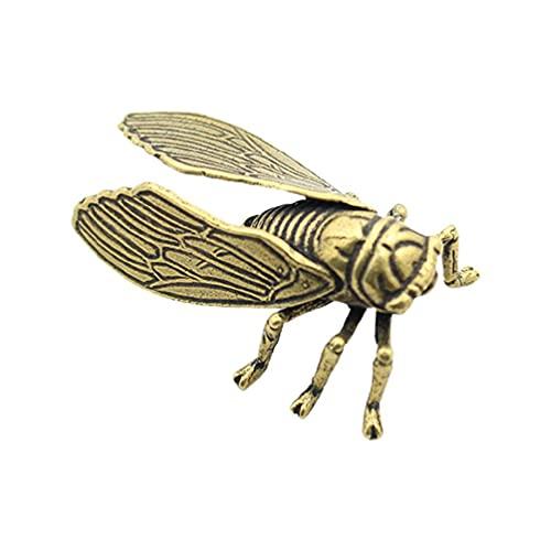 heilonglu Cobre Mesa Cicada Colección hecha a mano Exquisita 3D Insecto Latón Estatua Té Mascotas Vintage Decoración de Oficina en el Hogar Juguete para las mujeres niños niño