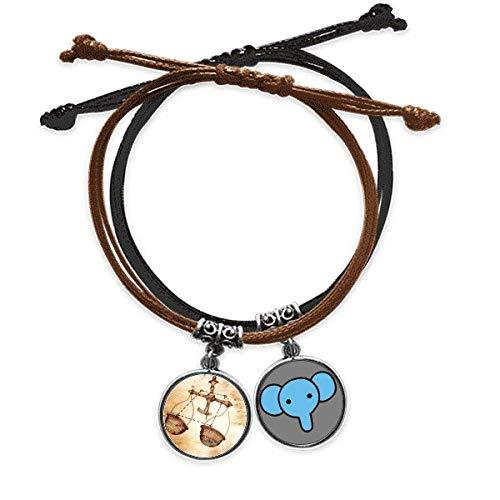 Beauty Gift Wrzesień październik waga konstelacja zodiak bransoletka lina łańcuszek na rękę skórzany słoń opaska na nadgarstek