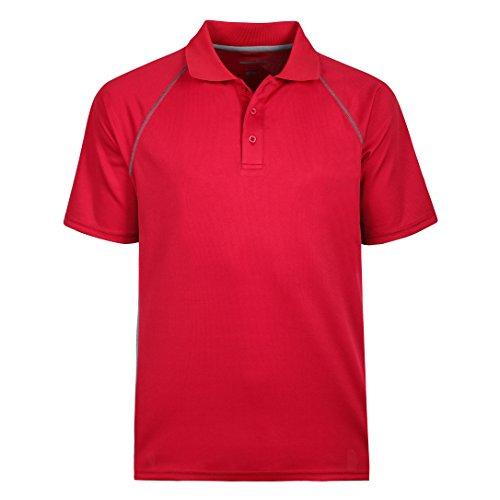 Men's Short Sleeve Moisture Wicking Performance Golf Polo Shirt, Side Blocked Red 6XL