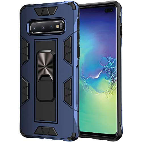 Samsung Galaxy S10 Plus Case Samsung Galaxy S10+ Case Military Grade Built-in Kickstand Case Holster Armor Heavy Duty Shockproof Cover Protective for Samsung Galaxy S10 Plus Phone Case (Blue)
