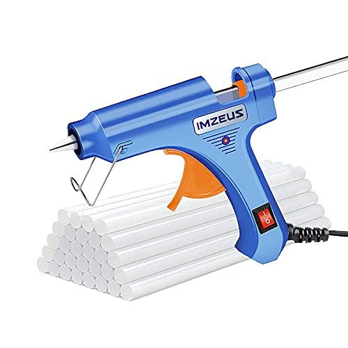 IMZEUS Heißklebepistole 20W, Klebepistole mit 60 Stück Klebesticks set (200 mm * 7 mm) für DIY Kleine Handwerk und Schnelle Reparaturen in Haus Heisklebebistole