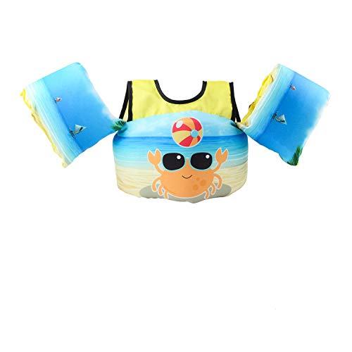 VIEKUU Schwimmhilfe Schwimmflügel Kinder Schwimmen Weste zum für Kinder von 2-6 Jahre 15-25kg Schwimmflügel Mit Sicherheitsschnalle für Kleinkinder Schwimmen zu Lernen (Orangenkrabben)
