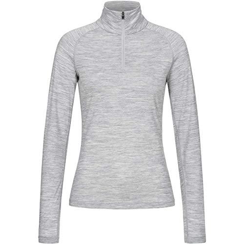 Super.natural Tee-shirt Manches Longues pour Femmes, Laine mérinos, W BASE 1/4 ZIP 175, Taille: XXL, Couleur: Gris