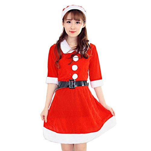 Kangrunmy Costume di Natale Vestito Fantasia, Donne Sexy Babbo Natale Costume Vestito Xmas Party Office Vestito