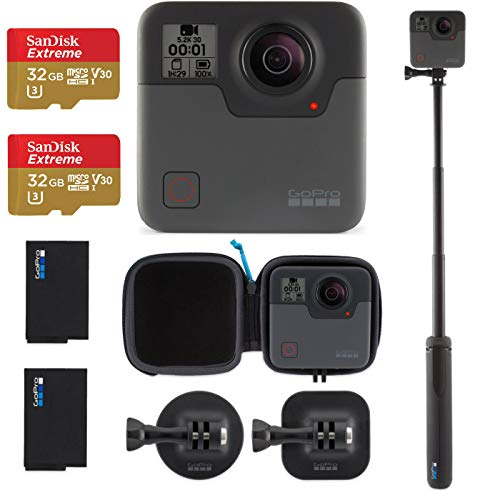 GoPro Fusion - 360 Waterproof Digital VR Camera with Spherical 5.2K HD Video 18MP Photos, Bundle Kit with Extra GoPro Rechargeable Battery + 2 Pack SanDisk 32GB Extreme MicroSD Memory Card
