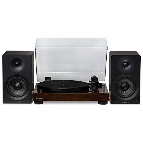 "Fluance Elite High Fidelity Vinyl Turntable - Diamond Stylus, Belt Drive, Built-in Preamp with Ai40 5"" Powered Bookshelf Speakers - 70W Class D Amplifier & aptX Bluetooth - Natural Walnut (RT81AI40B)"